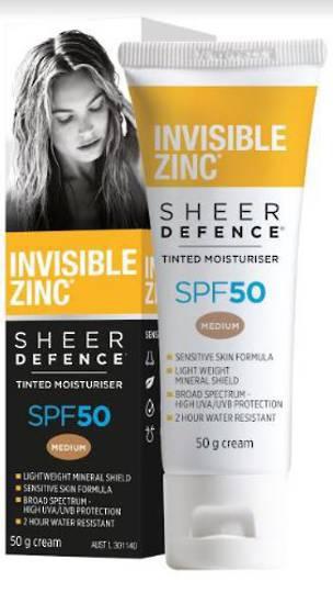 INVISIBLE ZINC® Sheer Defence Tinted Moisturiser SPF 50 – MEDIUM 50g