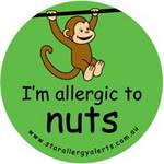 I'm Allergic to Nuts Badge (Monkey) Green or Pink